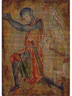 Cruzado templario rezando 20x14cm