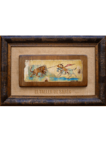 Cazador a caballo se enfrenta a un león con lanza